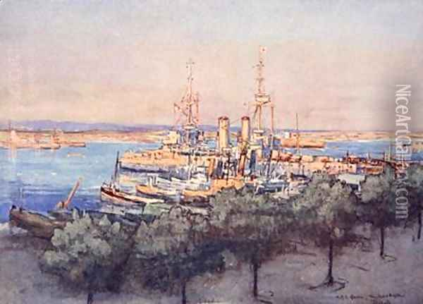 HMS Queen Trawlers and Drifters Taranto illustration from The Naval Front by Gordon S Maxwell 1920 Oil Painting - Donald Maxwell