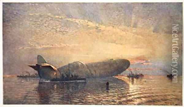 St George and the Dragon Zeppelin L15 in the Thames April 1916 Oil Painting - Donald Maxwell