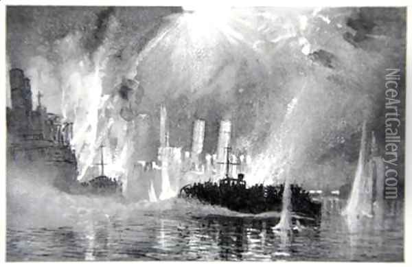 Motor Launches rescuing crews of the Blockships at Zeebrugge Oil Painting - Donald Maxwell