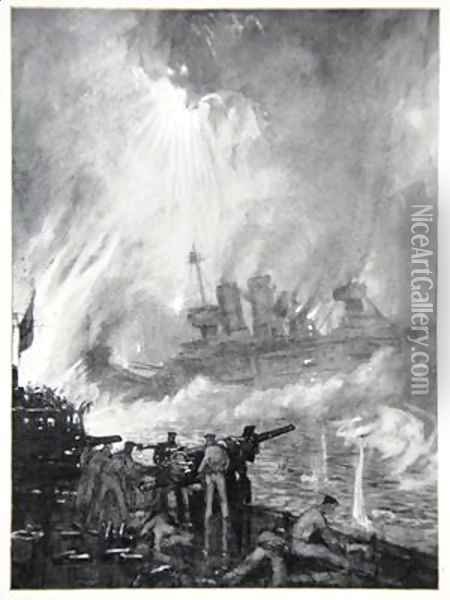 Fight the Last Gun the Gallant end of HMS Tiperrary at Jutland Oil Painting - Donald Maxwell