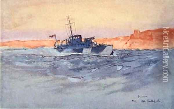 Sunrise Motor Launch off Gallipoli Italy illustration from The Naval Front by Gordon S Maxwell 1920 Oil Painting - Donald Maxwell