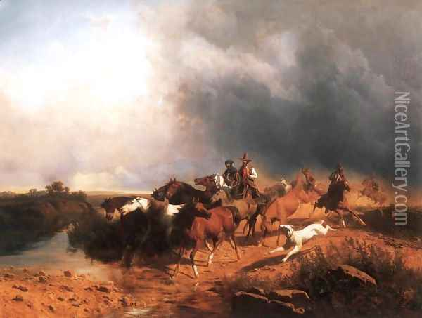 Italian Landscape with Galoping Horses 1871 Oil Painting - Andras Marko