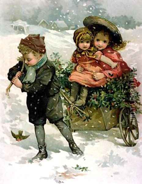 Gathering Holly Victorian card Oil Painting - Lizzie (nee Lawson) Mack