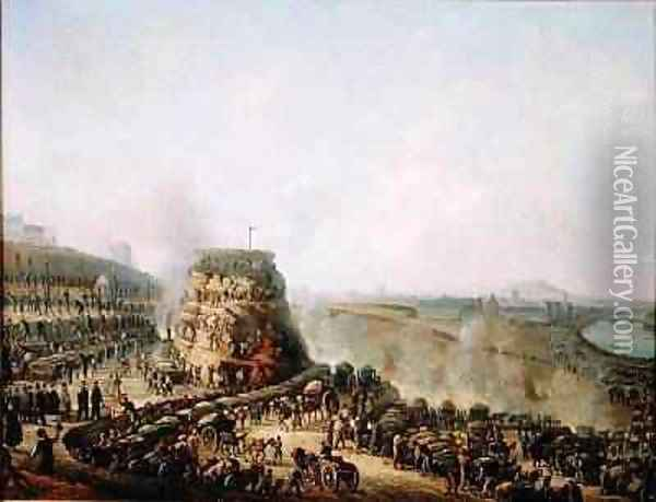 The Emperor Napoleon III 1808-73 and the Empress Eugenie 1829-1920 visiting the Chaillot Hill 1867 Oil Painting - Louis Moullin