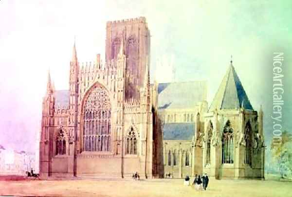 York Minster east view Oil Painting - Frederick Mackenzie