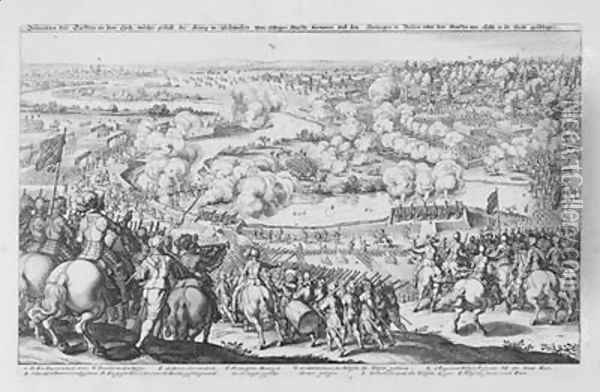The Battle of Rain am Lech victory of the Protestant Swedes against the Catholic troops of Tilly 15th April 1632 from Theatrum Europaeum Volume II 1633 Oil Painting - Matthaus the Elder Merian