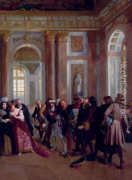 Jean Bart In The Galerie Des Glaces At Versailles Oil Painting - Gaston-Theodore Melingue