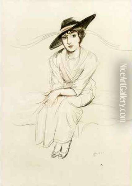 Portrait De Mme Mabel Lindon Eyre, Vers 1924 Oil Painting - Paul Cesar Helleu