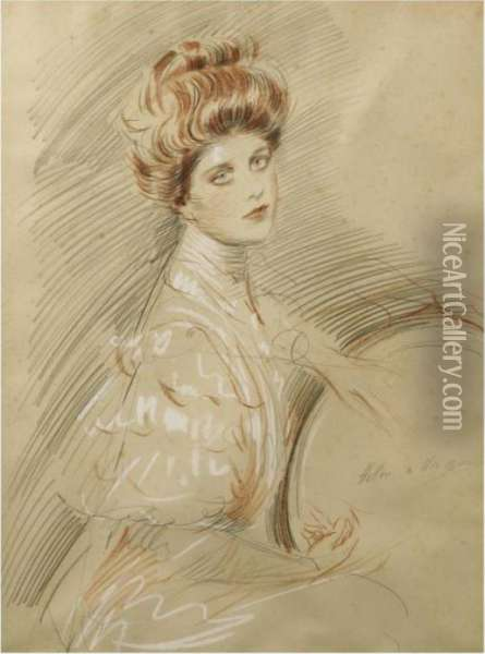 Portrait De Femme Oil Painting - Paul Cesar Helleu