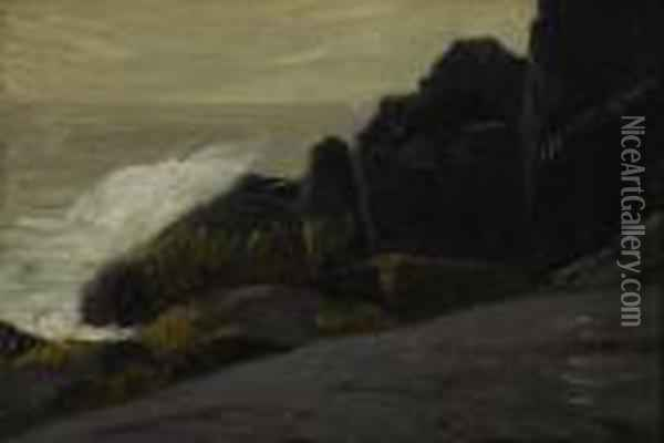 Sea And Cliffs Oil Painting - Robert Henri