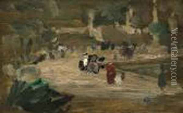 Nannies In The Luxembourg Gardens Oil Painting - Robert Henri
