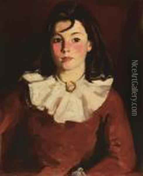 Portrait Of Cara In A Red Dress Oil Painting - Robert Henri