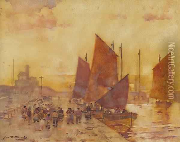 On The Quay, Arbroath Oil Painting - James Watterston Herald