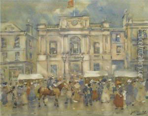 The Town Square Oil Painting - James Watterston Herald