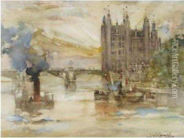 Houses Of Parliament From The River Oil Painting - James Watterston Herald