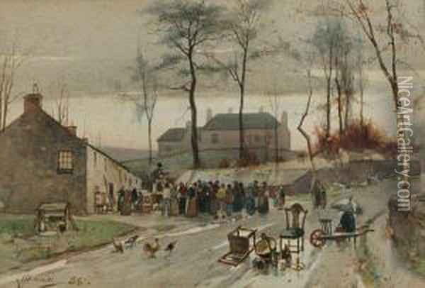 A Village Roup Oil Painting - James Watterston Herald