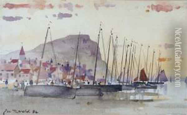 Fishing Boats And Figures On The Beach Before A Small Coastal Village Oil Painting - James Watterston Herald