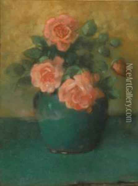 Pink Roses In A Vase Oil Painting - James Watterston Herald