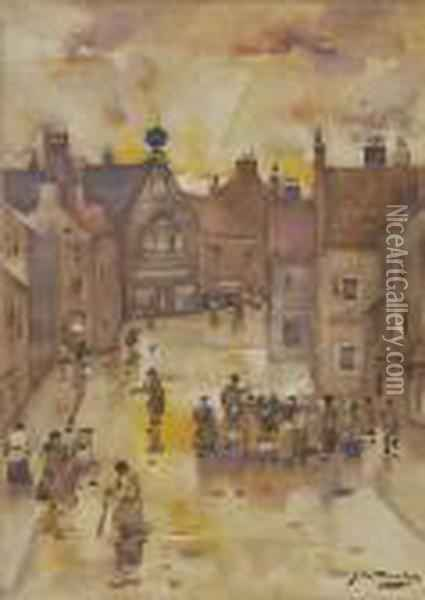 Figures On A Street At Twilight, Signed, Watercolour Oil Painting - James Watterston Herald