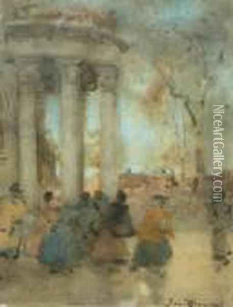 The Portico Oil Painting - James Watterston Herald