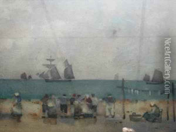 Fisherfolk And Smokies By A Harbour Wall Oil Painting - James Watterston Herald