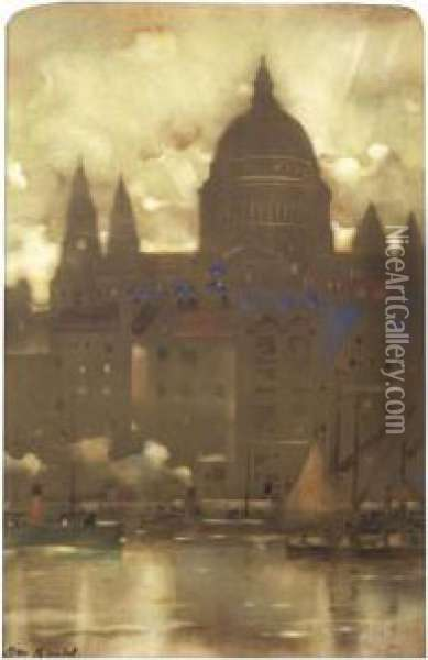 View Of St Paul's Oil Painting - James Watterston Herald