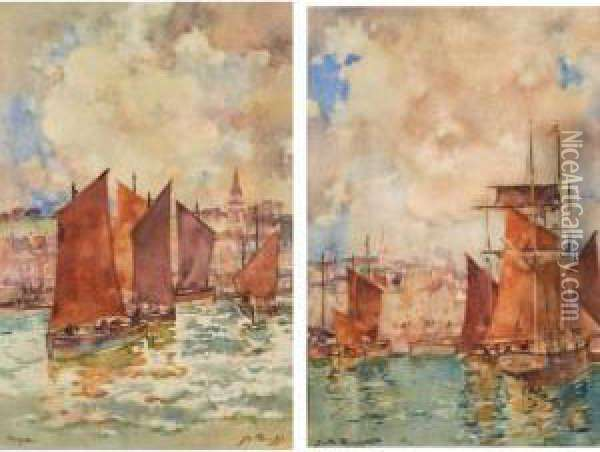 Harbour; Leaving Harbour, A Pair Oil Painting - James Watterston Herald