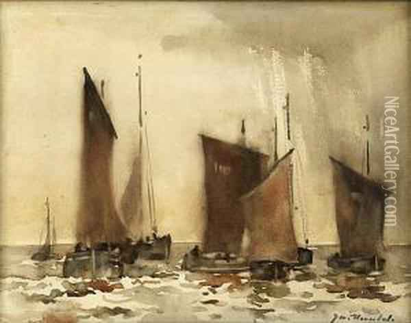 Fishing Fleet Setting Out Oil Painting - James Watterston Herald