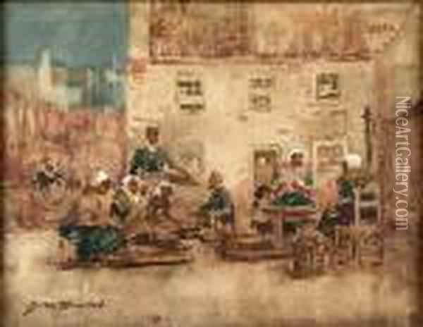 Mending The Nets Oil Painting - James Watterston Herald