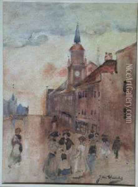 Figures In A Village Street Oil Painting - James Watterston Herald