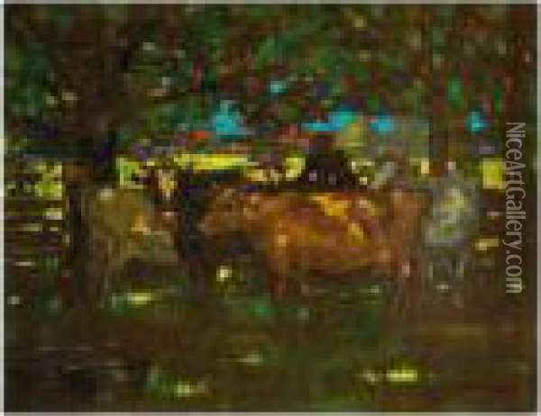 Cattle Resting In The Shade Oil Painting - James Watterston Herald