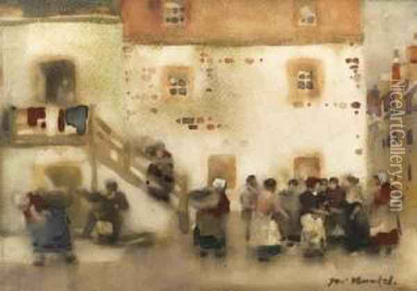 After The Service; The Roup; And Fisherwomen Gossiping(illustrated) Oil Painting - James Watterston Herald
