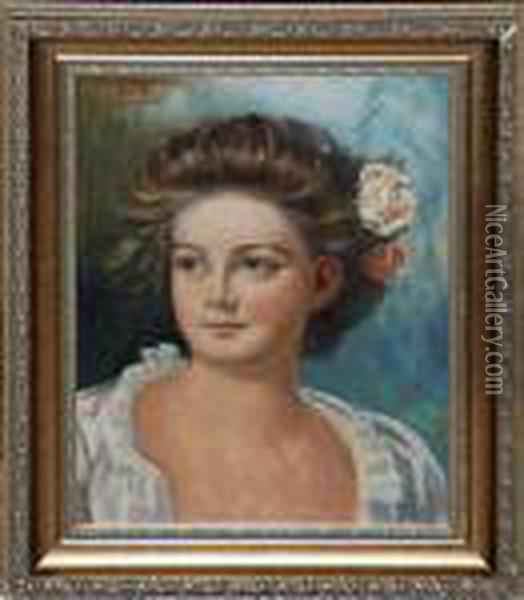 Portrait Of Girl Oil Painting - Leon Herbo