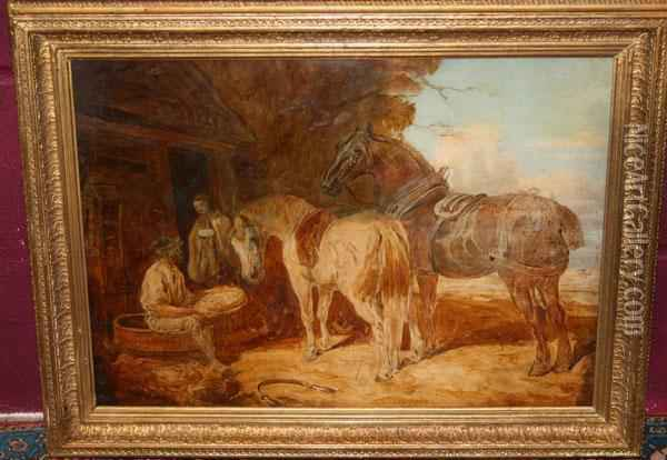 Field Workers Outside A Cottage With Two Plough Horses Oil Painting - John Frederick Herring Snr