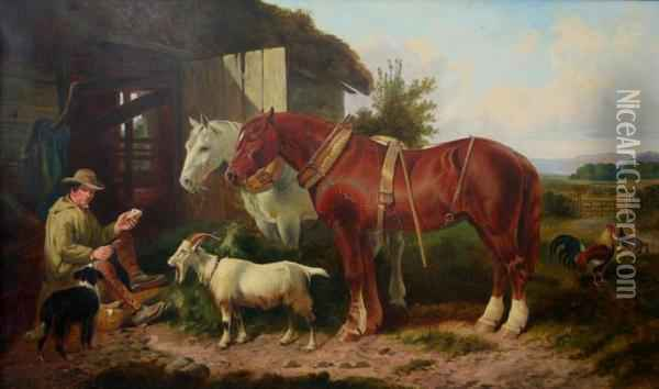 In The Farmyard: The Midday Meal Oil Painting - John Frederick Herring Snr