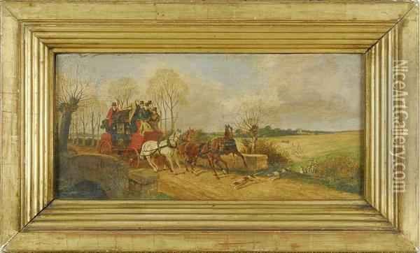 Hunting Dogs Crossing A Coach's Path. Signed Lower Right J.f.herring Sen