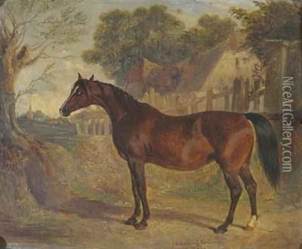 Bay Horse In A Village Landscape Oil Painting - John Frederick Herring Snr