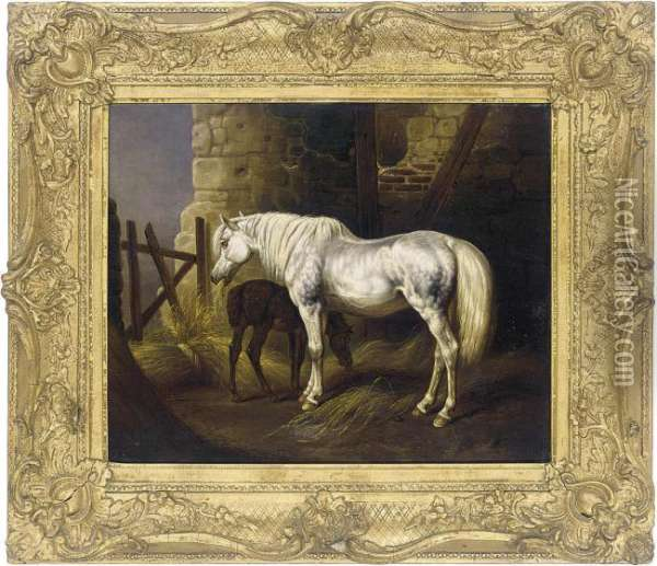 A Grey Mare And Her Foal In A Stable Oil Painting - John Frederick Herring Snr