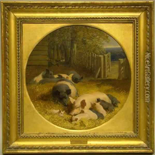 Happiness- Pigs With Their Litter In A Farmyard Oil Painting - John Frederick Herring Snr