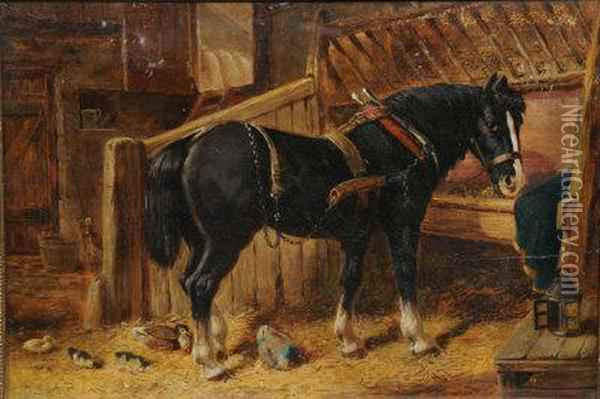 Heavy Horse In A Stable. Oil Painting - John Frederick Herring Snr