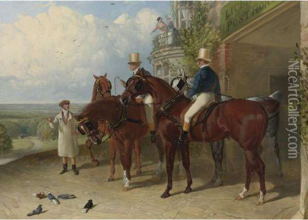 A Change Of Horses Waiting For The Arrival Of A Coach Outside An Inn Oil Painting - John Frederick Herring Snr