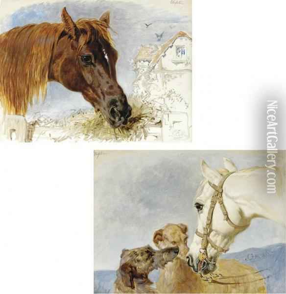 Feeding Time; And The Best Of Friends Oil Painting - John Frederick Herring Snr