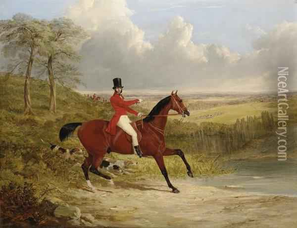 A Gentleman On A Bay Hunter, In An Extensive Landscape, A Stag Huntin Progress Beyond Oil Painting - John Frederick Herring Snr