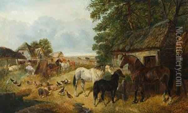 A View Of A Farmyard. Oil Painting - John Frederick Herring Snr