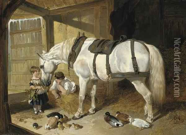Feeding Time Oil Painting - John Frederick Herring Snr