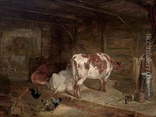 Cattle And Chickens In A Barn Oil Painting - John Frederick Herring Snr