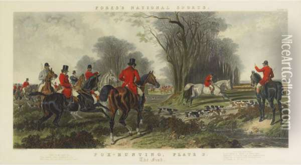 Fores National Sports - Fox Hunting Plate 2, The Find Oil Painting - John Frederick Herring Snr
