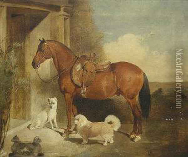 Bay Hunter With Side Saddle And Terriers Standing By A Portal Oil Painting - John Frederick Herring Snr