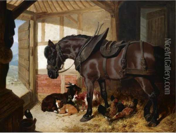 A Bay Carthorse In A Stable With Goats And Chickens Oil Painting - John Frederick Herring Snr