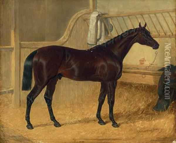 Charles Xii, Winner Of The 1839 St. Leger, In A Stable Oil Painting - John Frederick Herring Snr
